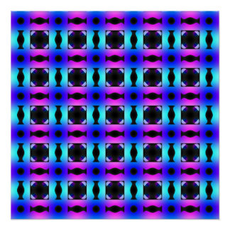 Funky Psychedelic Checkerboard Pattern Poster