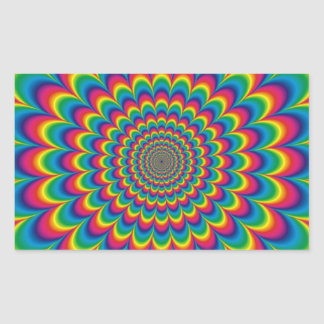 Funky Psychedelic Colour Fest Rectangular Sticker