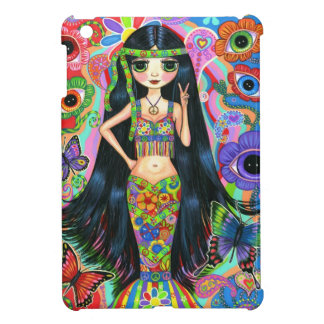 Funky Psychedelic Hippie Mermaid Girl Peace Sign iPad Mini Cases