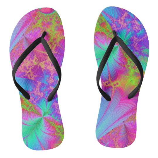 35034980955 Funky Psychedelic Rainbow Colors Flip Flops
