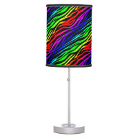 Funky Psychedelic Zebra Stripes Animal Pattern Table Lamp