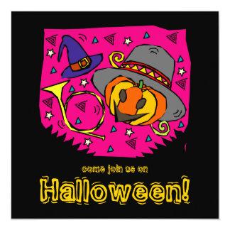 "Funky Pumpkins Halloween Party Invitation 5.25"" Square Invitation Card"