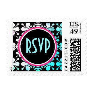 Funky punky colorful damask RSVP wedding Postage Stamp