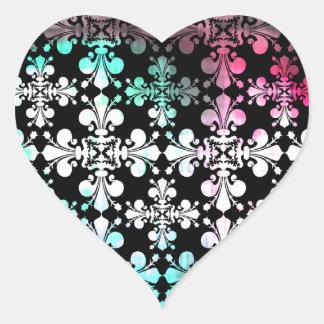 Funky punky discolored damask heart sticker