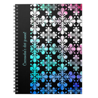 Funky punky discolored damask spiral notebook