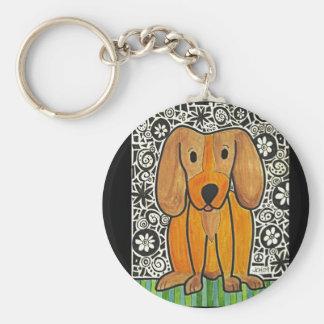 Funky Puppy Basic Round Button Keychain