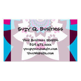 Funky Puppy Dog Paw Prints Purple Teal ZigZags Business Card Template