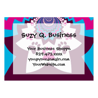Funky Puppy Dog Paw Prints Purple Teal ZigZags Business Card