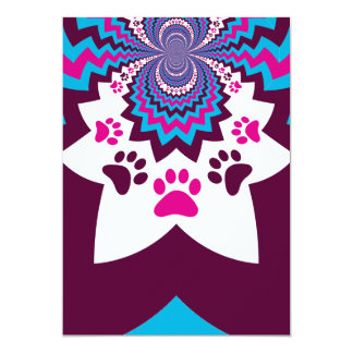 Funky Puppy Dog Paw Prints Purple Teal ZigZags Card