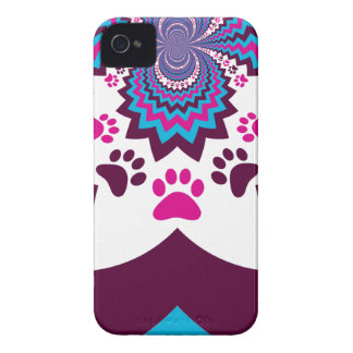 Funky Puppy Dog Paw Prints Purple Teal ZigZags iPhone 4 Cover