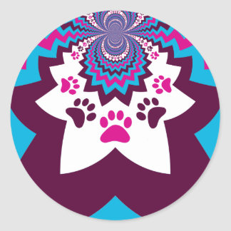 Funky Puppy Dog Paw Prints Purple Teal ZigZags Classic Round Sticker