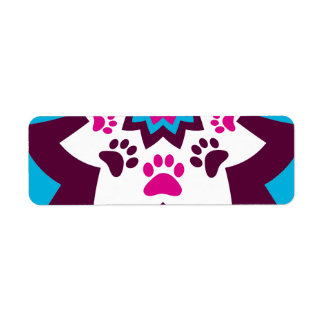 Funky Puppy Dog Paw Prints Purple Teal ZigZags Label