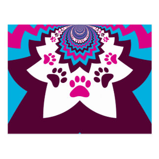 Funky Puppy Dog Paw Prints Purple Teal ZigZags Postcard