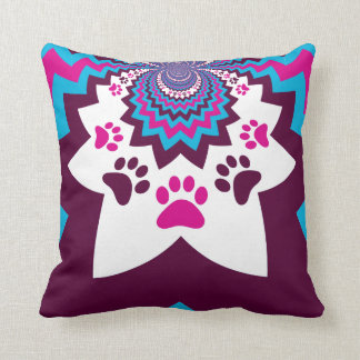 Funky Puppy Dog Paw Prints Purple Teal ZigZags Throw Pillow