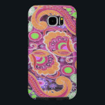 "Funky Purple Abstract Retro Paisley Pattern Samsung Galaxy S6 Case<br><div class=""desc"">Funky Purple Abstract Retro Paisley Pattern This 1970s style psychedelic paisley pattern is brightly colored in purple,  golden brown,  red,  pink and lime green. A retro boho pattern for your gadgets or to enhance your vintage decor. Designed by Lark Designs</div>"