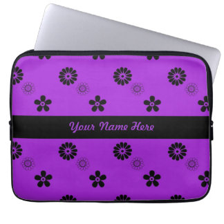 Funky Purple and Black Flowers Laptop Sleeve