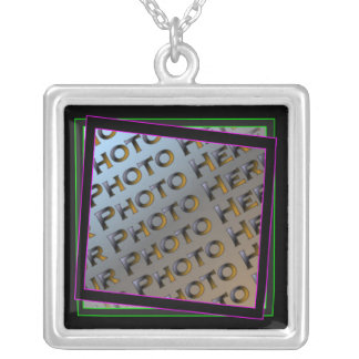 Funky Purple and Green Photo Frame Necklace