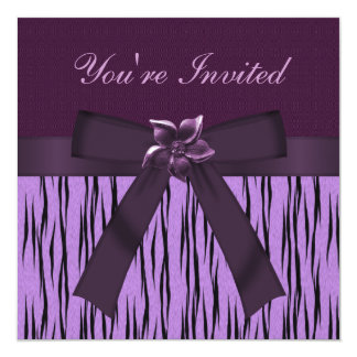 Funky Purple Animal Print & Flower Party Invites