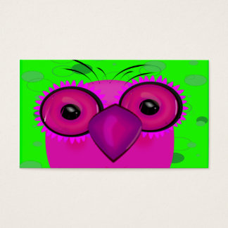 Funky Purple Cartoon Owl on Lime Green Background Business Card