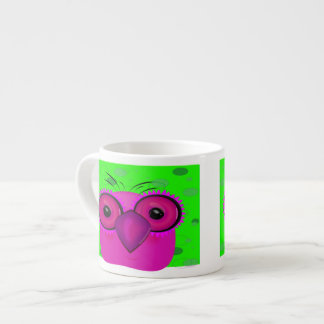 Funky Purple Cartoon Owl on Lime Green Background Espresso Cup