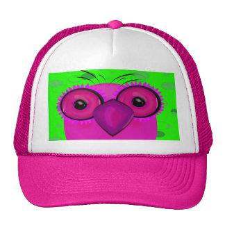 Funky Purple Cartoon Owl on Lime Green Background Trucker Hat