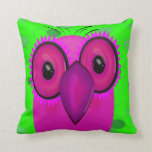 Funky Purple Cartoon Owl on Lime Green Background Pillow