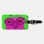 Funky Purple Cartoon Owl on Lime Green Background Tag For Luggage
