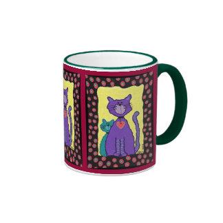 Funky Purple Cat & Kitty - fancy feline mug