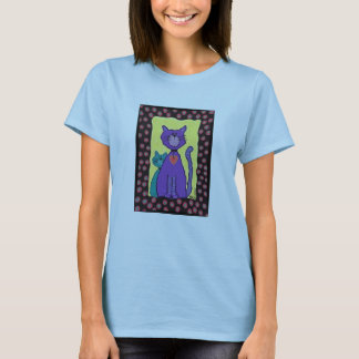 Funky Purple Cat & Kitty - t-shirt