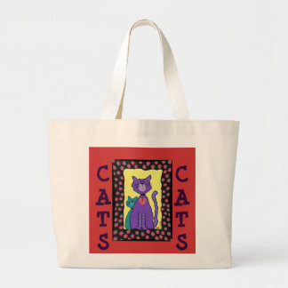 Funky Purple Cat & Kitty - tote bag