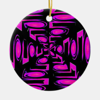 Funky Purple Circles and Lines Ceramic Ornament