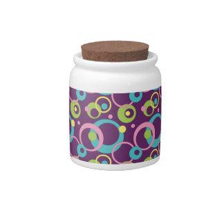 Funky Purple Circles Candy Jar
