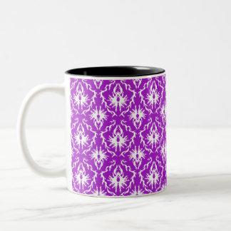 Funky Purple Damask Pattern with White. Coffee Mugs