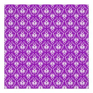 Funky Purple Damask Pattern with White. Posters