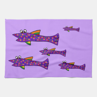 Funky Purple Fish Cartoon Towel