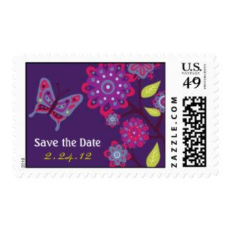 Funky Purple Flowers Wedding Postage Stamp