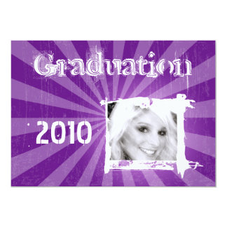Funky Purple Grad Grunge Graduation Invitations