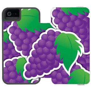 Funky purple grapes iPhone SE/5/5s wallet case