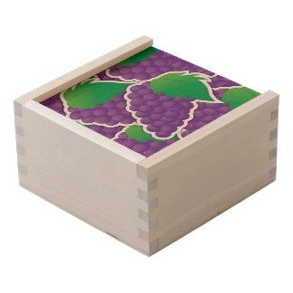 Funky purple grapes wooden keepsake box