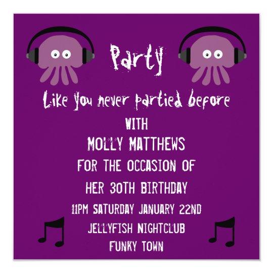 Funky Purple Jellyfish DJ Customizable Party Card