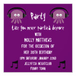 Funky Purple Jellyfish DJ Customizable Party Personalized Invitations