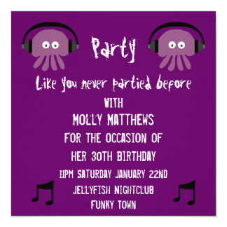 Funky Purple Jellyfish DJ Customizable Party 5.25x5.25 Square Paper Invitation Card