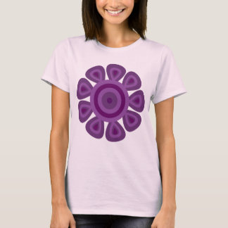 Funky purple & lilac retro flower pink T-shirt