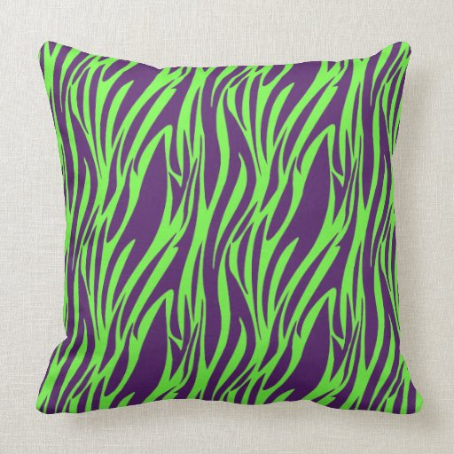 funky purple neon green zebra print pillow zazzle. Black Bedroom Furniture Sets. Home Design Ideas