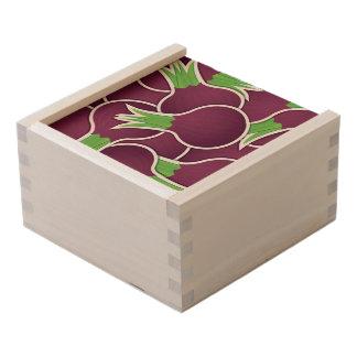 Funky purple onions wooden keepsake box