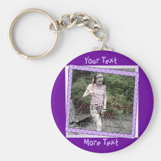Funky Purple Polka Dot Frame Keychain