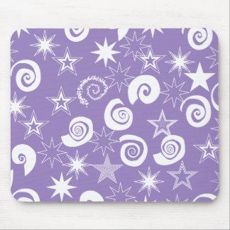 Funky Purple Stars and Swirls Fun Pattern Gifts Mouse Pad