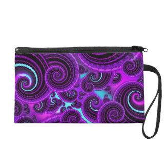 Funky Purple Swirl Fractal Art Pattern Wristlet