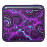 Funky Purple Swirl Fractal Art Pattern iPad Sleeves