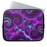 Funky Purple Swirl Fractal Art Pattern Laptop Computer Sleeves